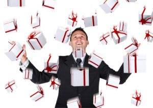 business man with gifts falling down